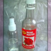 Rose water in a small spray bottle.