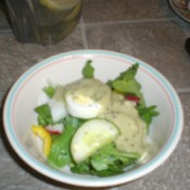 Avocado dressing on salad