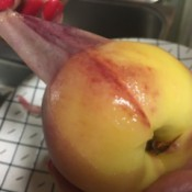 Removing the peel of a peach.