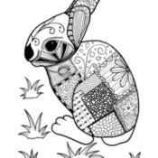 Colorful Rabbit Adult Coloring Page - patchwork rabbit coloring page