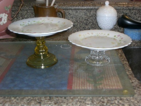 Upcycled Cake Plate - plates glued to glass candle sticks