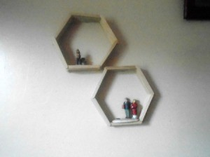 Hexagon Popsicle Stick Shelves - two finished shelves on the wall
