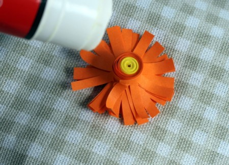 Paper Flower Bouquet - apply plenty of glue to the back of the flower
