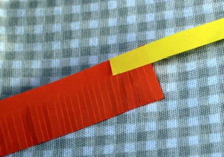 Paper Flower Bouquet - glue one end of the narrow strip to one end of the wide strip