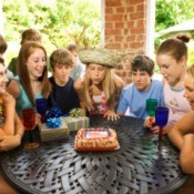 Teenagers at a 14th birthday party.