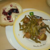 Crockpot Greenbeans and New Potatoes on plate with bread and jam