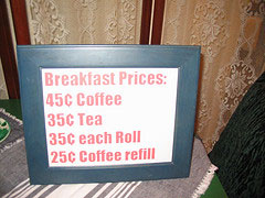 Breakast Prices As Conversation Piece