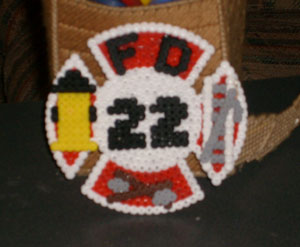 Perler Beads Fire Department Symbol