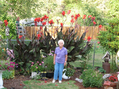 86 Year Old Mom in Garden