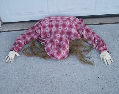 Halloween Decoration: Caught Under The Garage Door