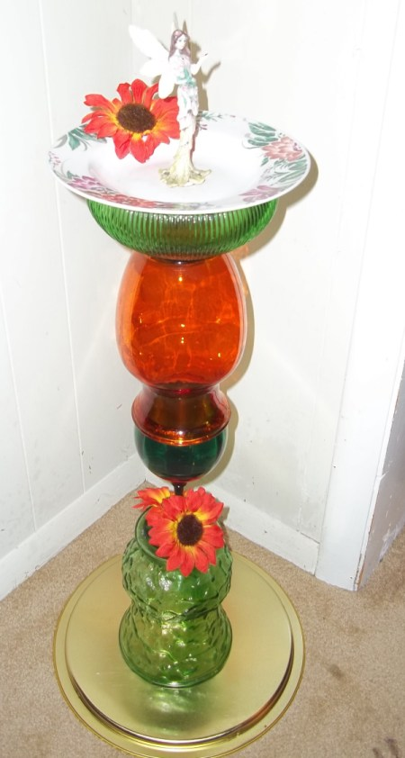 Photo of finished birdbath made from glass