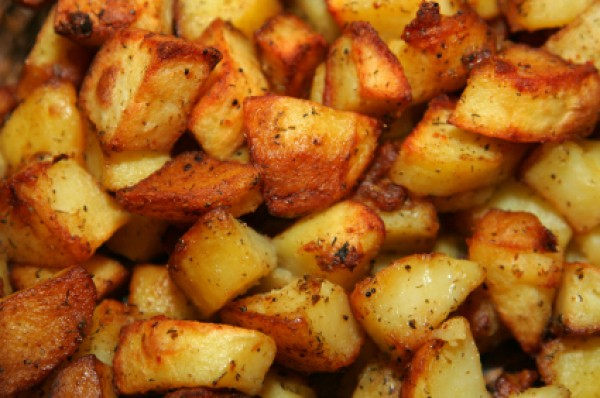 Roasted potato recipes thriftyfun a pan of oven roasted potatoes sisterspd