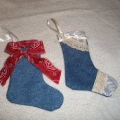 Mini denim Christmas stockings.