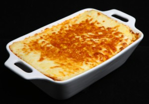 A pan of baked lasagna