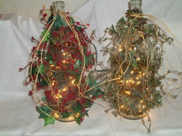 photos of wine bottle lamps with decorations