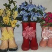 Finished Rain Boot Flower Arrangement