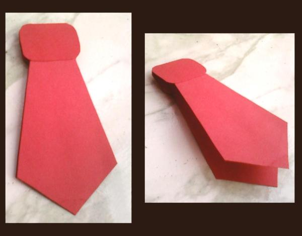Father's Day red tie paper cutout.