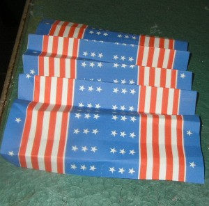 Stars and stripes paper that has been accordian folded.