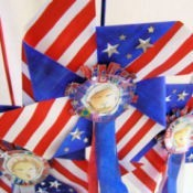 Closeup of three finished pinwheels