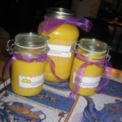 Jars of homemade lemon curd.