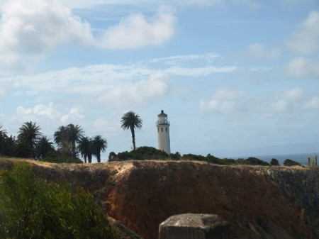 The Point Vicente Lighthouse from a distance.