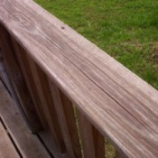 Closeup of weathered deck railing