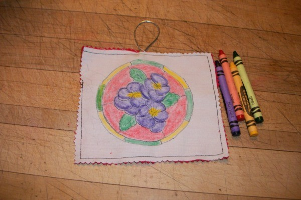 colored image and four crayons