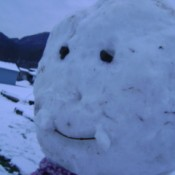 A close up of a snowman's face.