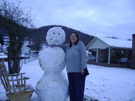 A classic snowman built during the winter of 2011 in Tennesee.
