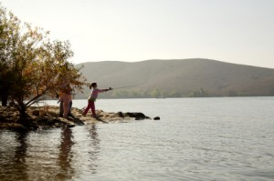 Fishing in a mountain lake.