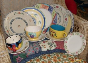 mismatched sets of dishes