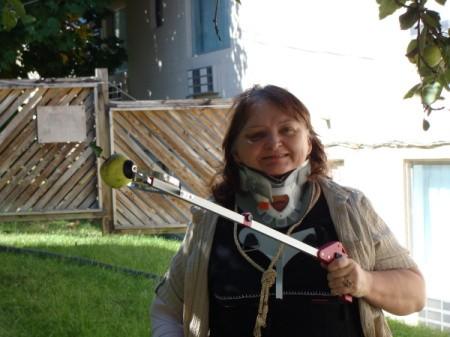 A woman in a neck brace