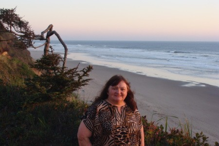 A woman at the the beach in Oregon.