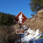 A Bigfoot Crossing road sign in Colorado.