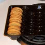 A cookie tray holding crackers
