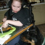 A girl at a table with a black and brown Shepard mix.