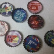 Several magnets made from bottlecaps.