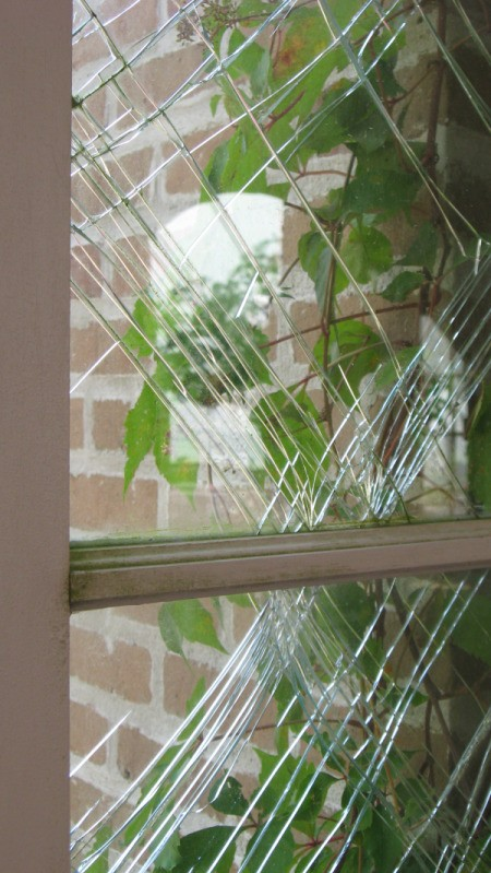 Glass that was cracked during Hurricane Katrina, in Gulfport, MS.