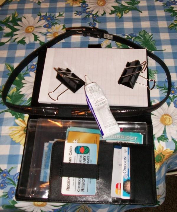Planner, belt, binder clips, and glue