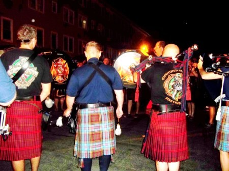 Performers in the Fire Brigade Pipes and Drums of Greater Baltimore
