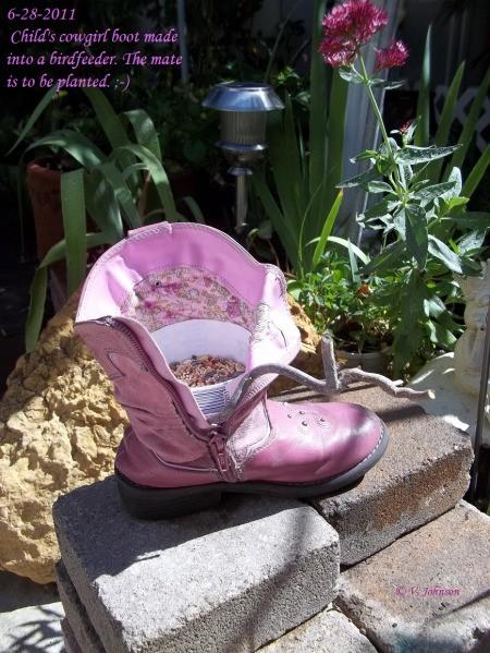Cowgirl Boot Birdfeeder