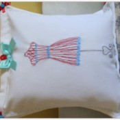 Finish embroidered cloth napkin pillow.