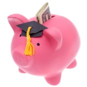 Pink piggy bank wearing graduation cap with money in the slot.