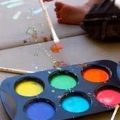 Liquid Chalk in Muffin Tins