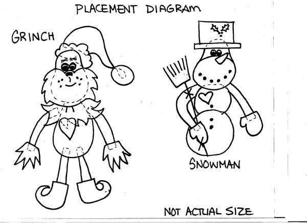 Grinch and Snowman magnents Template