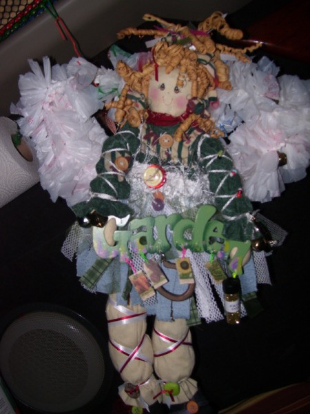 Angel made from thrift store purchases