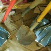 Garden tools in disarray.
