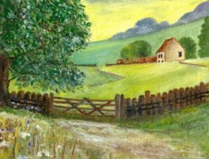 Oil painting of house and fields.