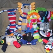 Group photo of several sock creatures.