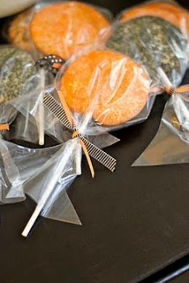 Orange and Black Halloween Lollipop Cookies